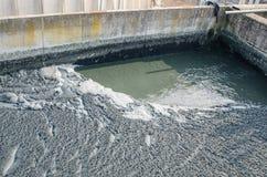 Traitement des eaux usées avec la boue biologique images libres de droits