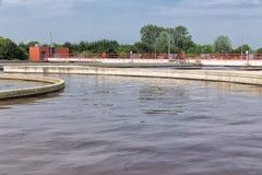 Traitement des eaux usées, usine, aération des eaux usées Photo stock