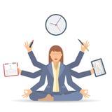 Traitement multitâche B de femme d'affaires Photos stock