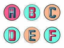 traitement original et beau des six premières lettres de l'alphabet illustration stock