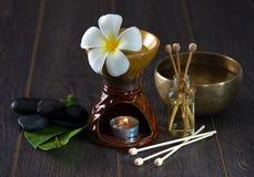 Traitement tropical de santé de station thermale de frangipani avec la thérapie d'arome et Image libre de droits