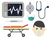 Traitement urgent d'infirmier de soutien de pilule de pharmacie d'hôpital de secours de santé de médecine de vecteur d'icônes d'a Images libres de droits