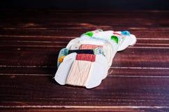 Traitements différés d'amorçage sur le fond en bois Photo stock