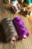 Traitements différés d'amorçage sur le fond en bois Vieux accessoires de couture Images stock