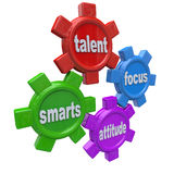 Traits of a Winner - Successful Qualities Skills Talent Attitude. Traits of a successful person written on colorful gears - smarts, talent, focus and attitude Royalty Free Stock Photo