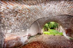 Trajan和Claudius港的考古学挖掘  库存图片