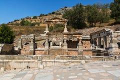 Trajan, Nymphaeum Traiani喷泉,在以弗所古城, Selcuk,土耳其 库存照片