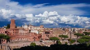 Trajan and Augustus Forum Panorama Royalty Free Stock Photo