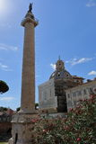 Trajan Column and Basilica Santa Maria di Loreto in Rome Stock Photos