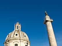 Trajan column and church, Rome Royalty Free Stock Photography