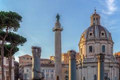 Trajan column, churche of Santa Maria di Loreto, and ruins of Tr Royalty Free Stock Photos