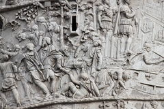 Trajan column in Rome. Basrelieves in the Trajan column in Rome, Italy Stock Photography