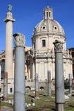 Trajan column and Ulpia Basilica Stock Image