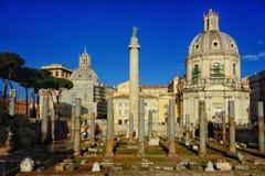 Trajan column Ulpia Basilica Rome Stock Photography