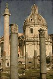 Trajan column and Ulpia Basilica - Vintage Stock Photography