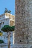 Trajan column and Vittorio Emmanuele II monument Royalty Free Stock Photo