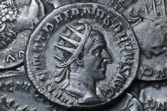 Trajan Decius Antoninianus Ρώμη 249-251, ρωμαϊκά νομίσματα Στοκ Φωτογραφίες
