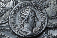 Trajan Decius Antoninianus Roma 249-251, moedas romanas fotos de stock
