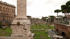Trajan Forum in the city of Rome. Videoclip stock footage