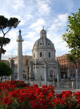 Trajan Forum with column, church and flowers. Ancient Basilica Ulpia, Trajan Columun and Church of most holy name of Mary Stock Photos