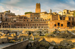 Trajan forum and market panorama in Rome. At the end of the day just before sunset Stock Photography