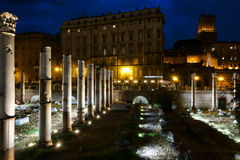 Trajan Forum at night in Rome Stock Photography
