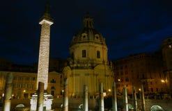 Trajan Forum at night in Rome Stock Images