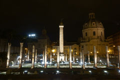 Trajan Forum at night in Rome Royalty Free Stock Images