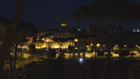 Trajan forum at night. Time lapse of the Trajan Forum in Rome, Italy stock video