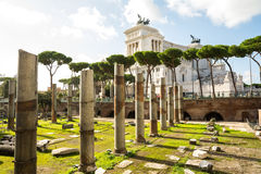 Trajan forum ruins and capitoline hill Stock Photos