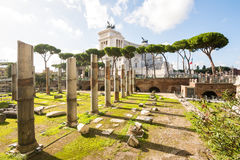 Trajan forum ruins and capitoline hill Stock Image