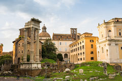 Trajan forum ruins and capitoline hill Royalty Free Stock Image