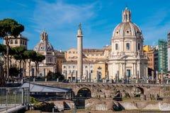 Trajan Forum and Trajan Column in Rome, Italy royalty free stock photos