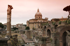 Trajan kolonn, roman forum, Rome, Italien Royaltyfria Bilder