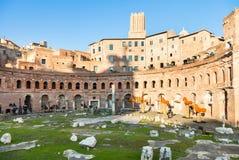 Trajan market of Trajan`s Forum in Rome city Royalty Free Stock Photos