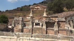 Trajan Nymphaeumu in Ephesus. Ephesus, ultimately from Hittite Apasa, was an ancient Greek city on the coast of Ionia, three kilometers southwest of present stock video