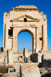Trajan`s Arch. The Ruins of Ancient Mactaris (Makthar) in Tunisia Stock Images