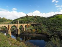 Trajan`s Bridge. Alcantara, Spain. For more than 1,000 years it was the longest arch bridge in both total and span length. royalty free stock photo