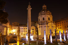 Trajan's column and Basilica Ulpia, Rome Royalty Free Stock Photos
