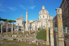 Trajan's Column and Basilica Ulpia, Rome Stock Photos
