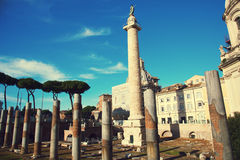 Trajan's Column and Basilica Ulpia, Rome Stock Image