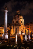Trajan's Column night scene, Rome Royalty Free Stock Photos