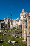 Trajan`s Column at Roman Forum in Rome in Italy. At sunny weather royalty free stock photos