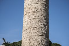 Trajan`s Column is a Roman triumphal column in Rome, Italy. That commemorates Roman emperor Trajan`s victory in the Dacian Wars. It was constructed in the royalty free stock photos
