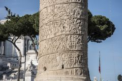 Trajan`s Column is a Roman triumphal column in Rome, Italy. That commemorates Roman emperor Trajan`s victory in the Dacian Wars. It was constructed in the royalty free stock photography