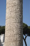 Trajan`s Column is a Roman triumphal column in Rome, Italy. That commemorates Roman emperor Trajan`s victory in the Dacian Wars. It was constructed in the royalty free stock image