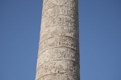 Trajan`s Column is a Roman triumphal column in Rome, Italy. That commemorates Roman emperor Trajan`s victory in the Dacian Wars. It was constructed in the stock image