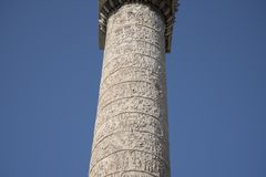 Trajan`s Column is a Roman triumphal column in Rome, Italy. That commemorates Roman emperor Trajan`s victory in the Dacian Wars. It was constructed in the stock photo