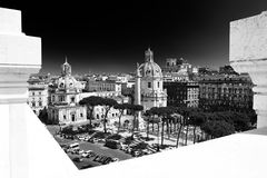 Trajan's Column and Santa Maria di Loreto church stock photo