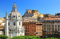 Trajan's Column and Santa Maria di Loreto church Royalty Free Stock Images